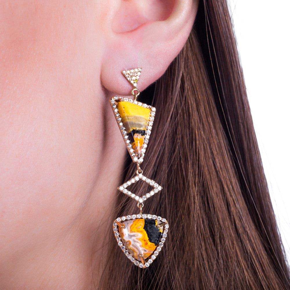 Manganese Sulfide Diamond Earrings