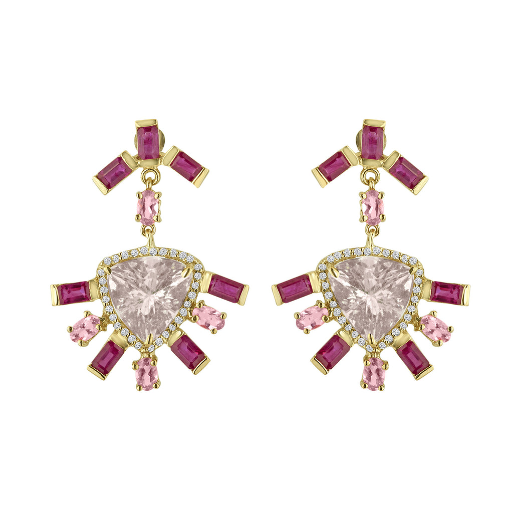 Morganite Ruby Tourmaline Earrings