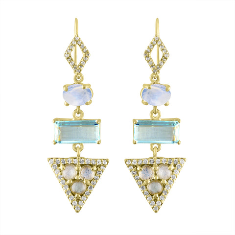Aqua Moonstone Triangle Earrings
