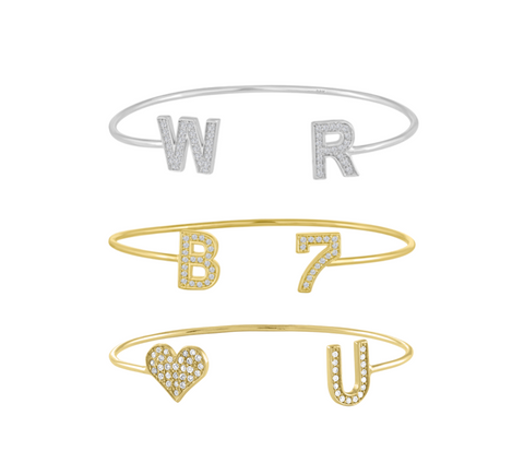 Large Diamond Initial Wire Bangle