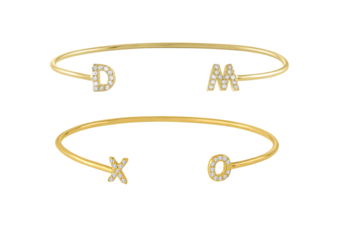 Small Diamond Initial Wire Bangle