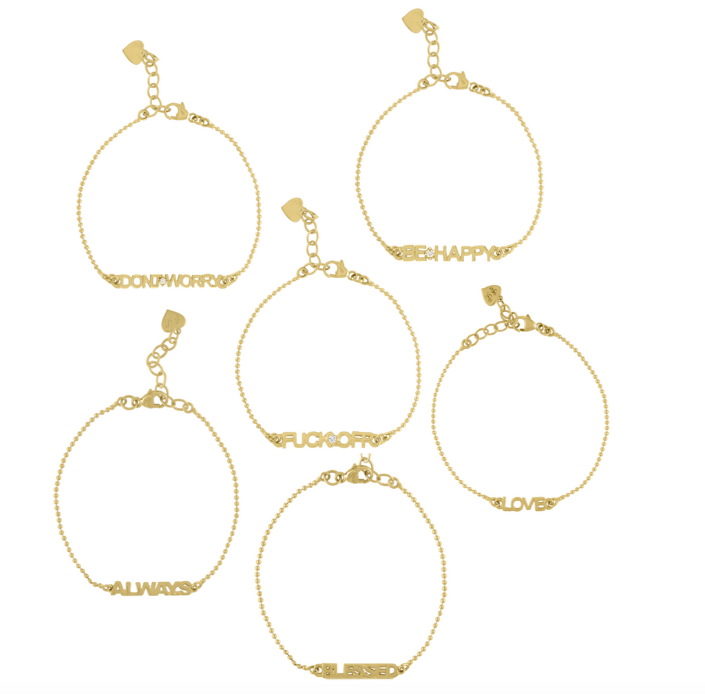 Golden Word Bead Chain Bracelet
