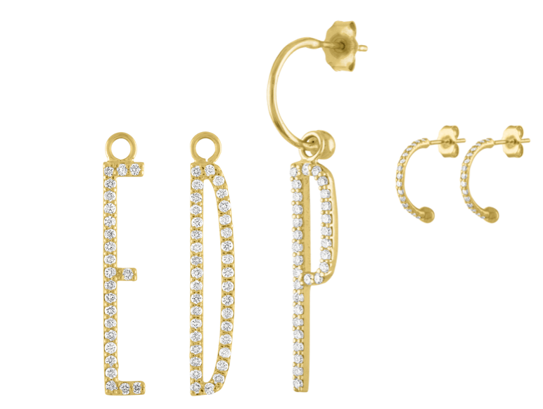 Elongated Diamond Initial Earring or Charm