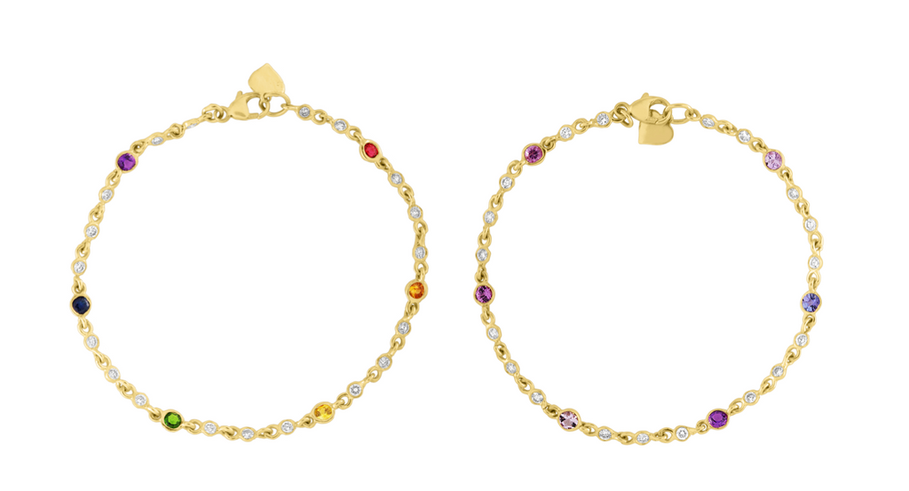 Mixed Sapphires and Diamond Baby Bezel Bracelet