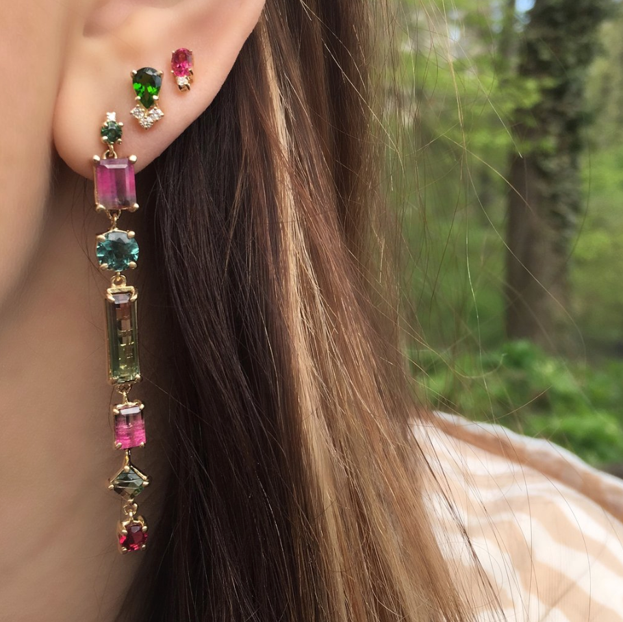 New Mixed Tourmaline Earringss