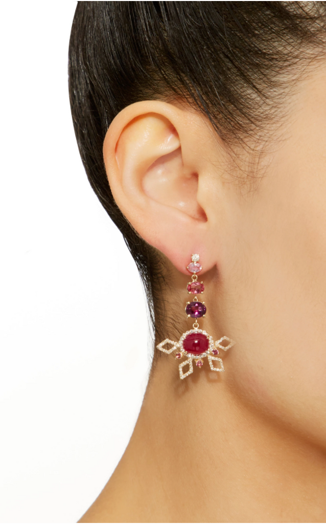Shades of Red Half Flower Earring