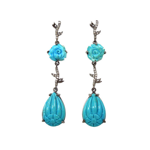 Turquoise Diamond Flower Earrings
