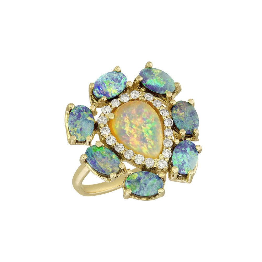 Australian and Boulder Opal Diamond Ring