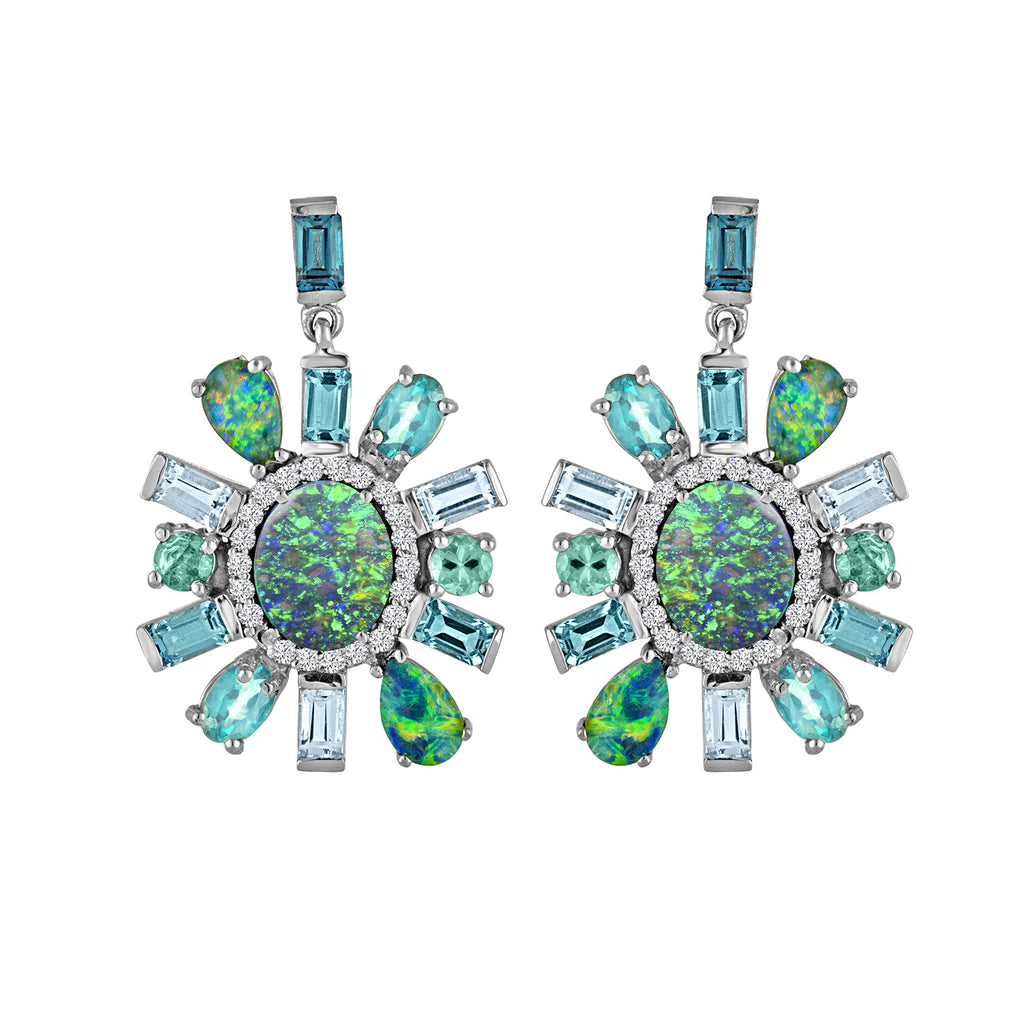 Australian Opal Topaz Apatite Boulder Diamond Earrings