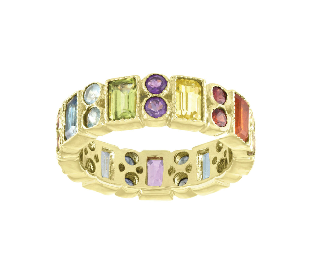Rainbow Rectangle Double Round Eternity Band