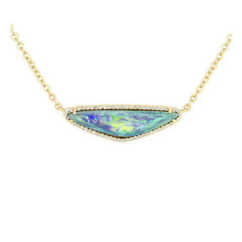 Boulder Opal Diamond Necklace