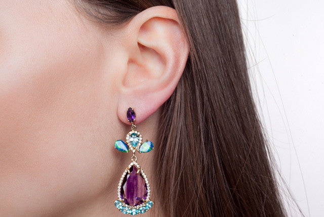 Raw Amethyst Blue Zircon Boulder Opal Earrings