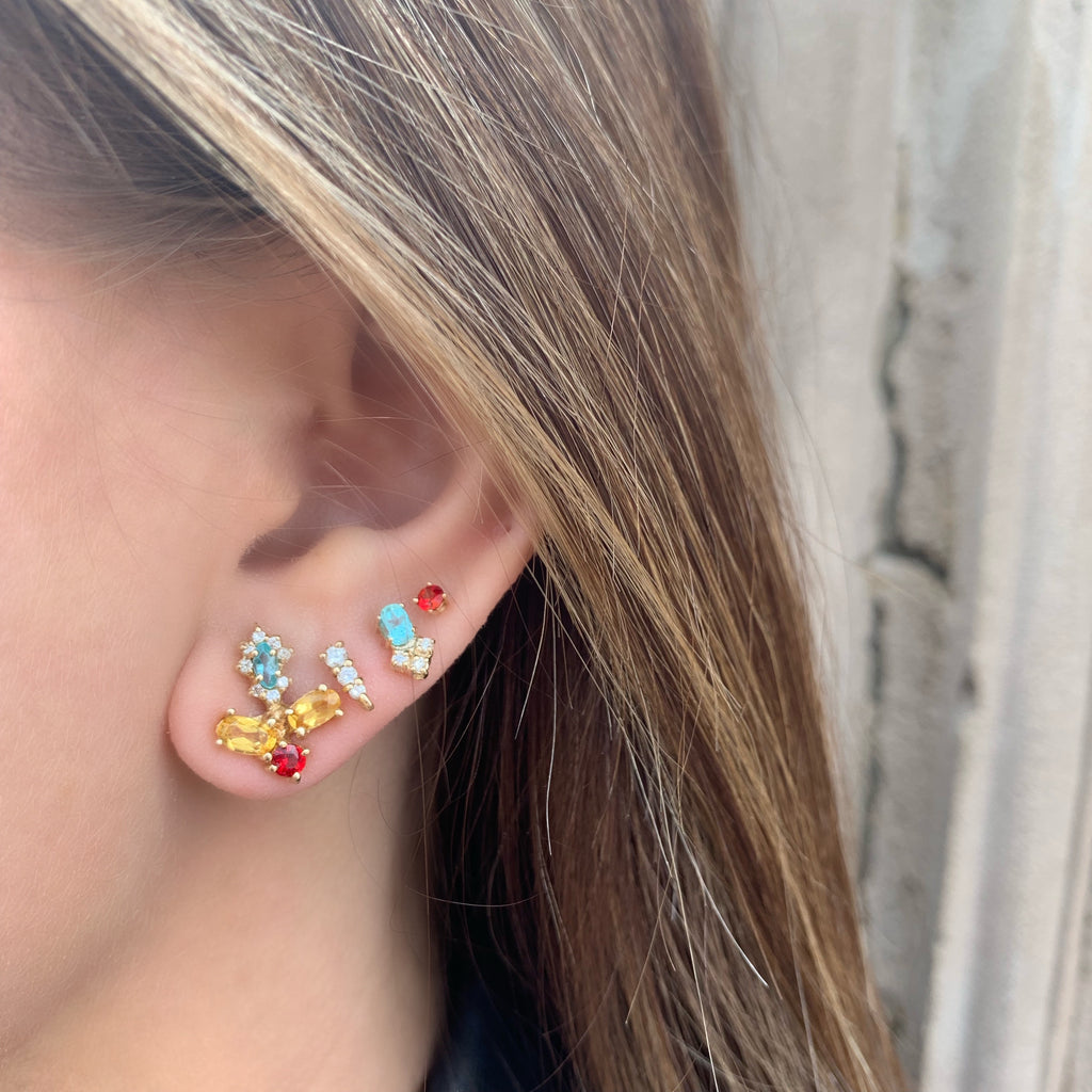 Flower Oval Stud