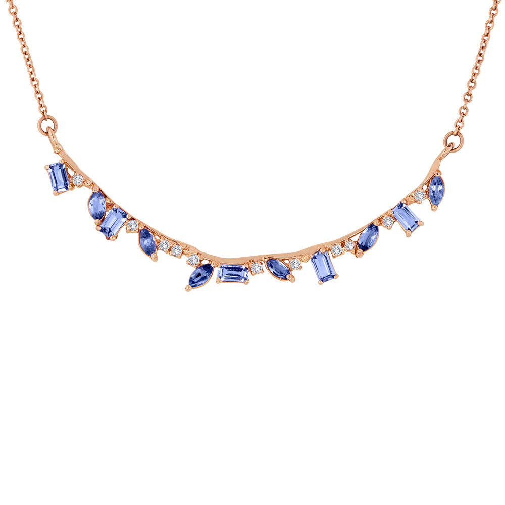Curved Stone and Diamond Bar Necklace