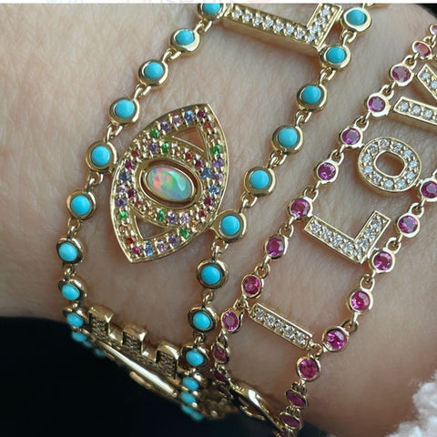 Love luck turquoise diamond bracelet