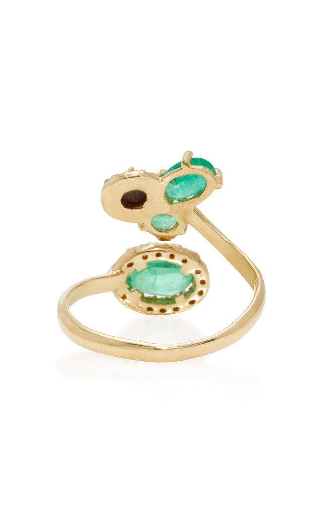 Emerald, Opal, Tourmaline and Diamond Open Finger Ring