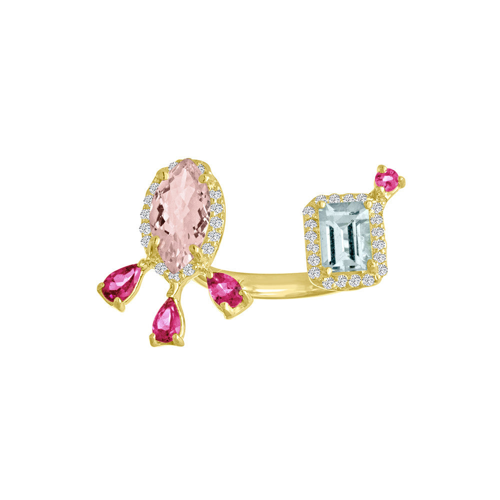 Morganite Aquamarine Open Finger Ring