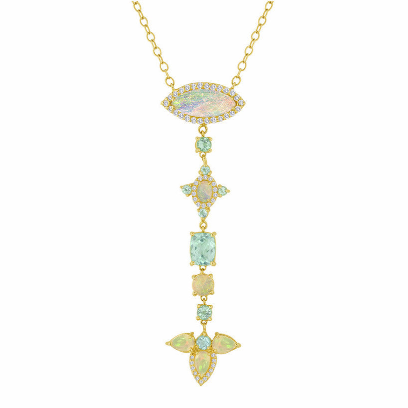 Opal Diamond Drop Necklace