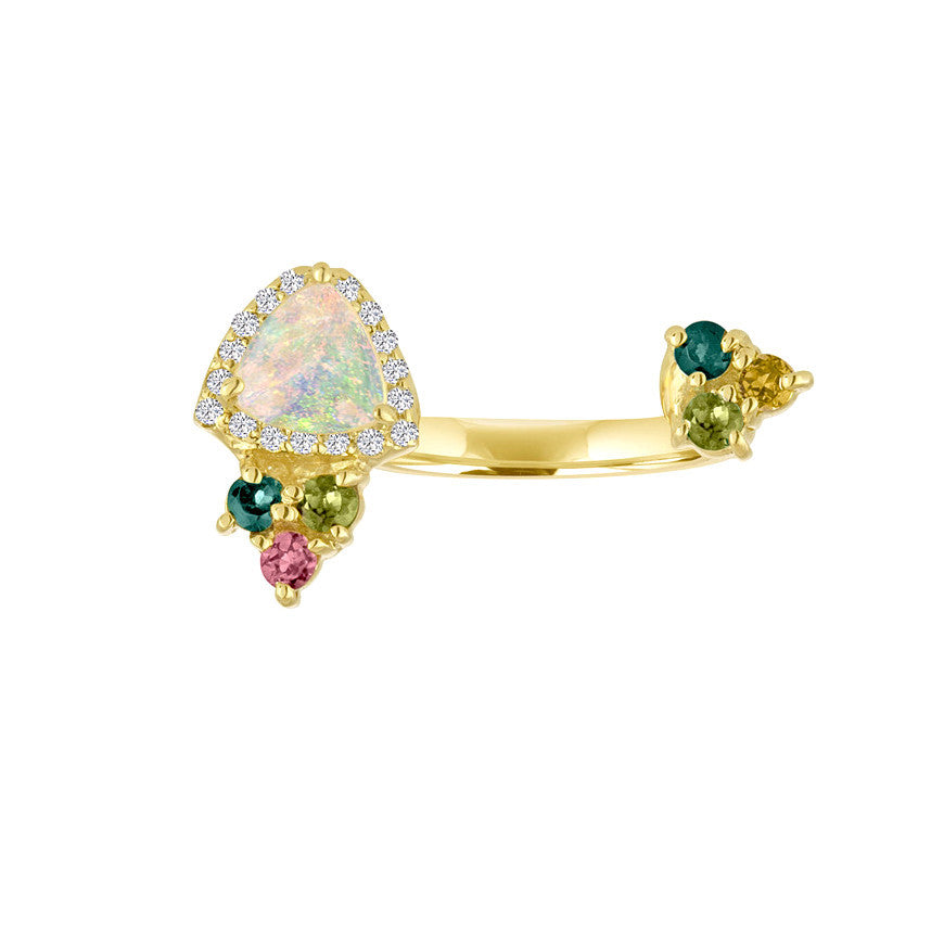 Opal, Multicolor Tourmaline Open Finger Ring