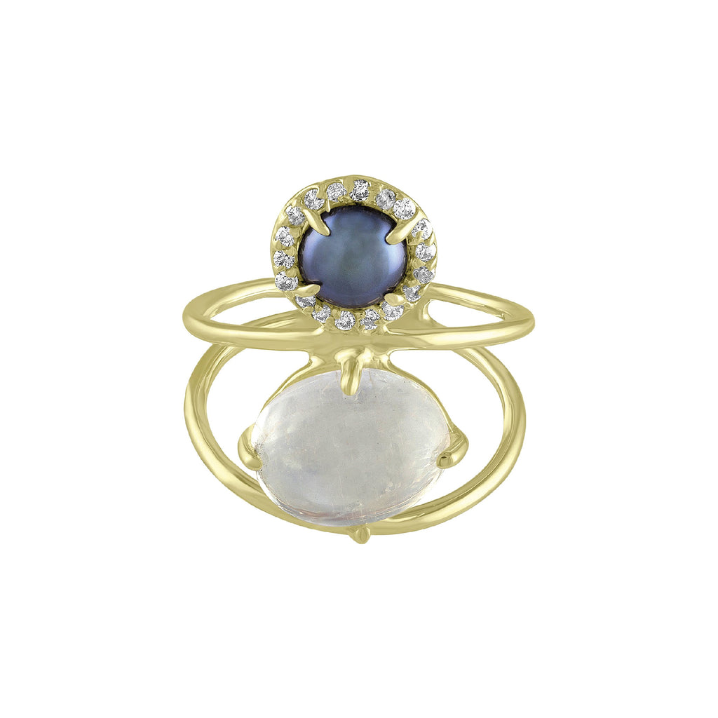 Rainbow Moonstone Gray Pearl Wire Ring