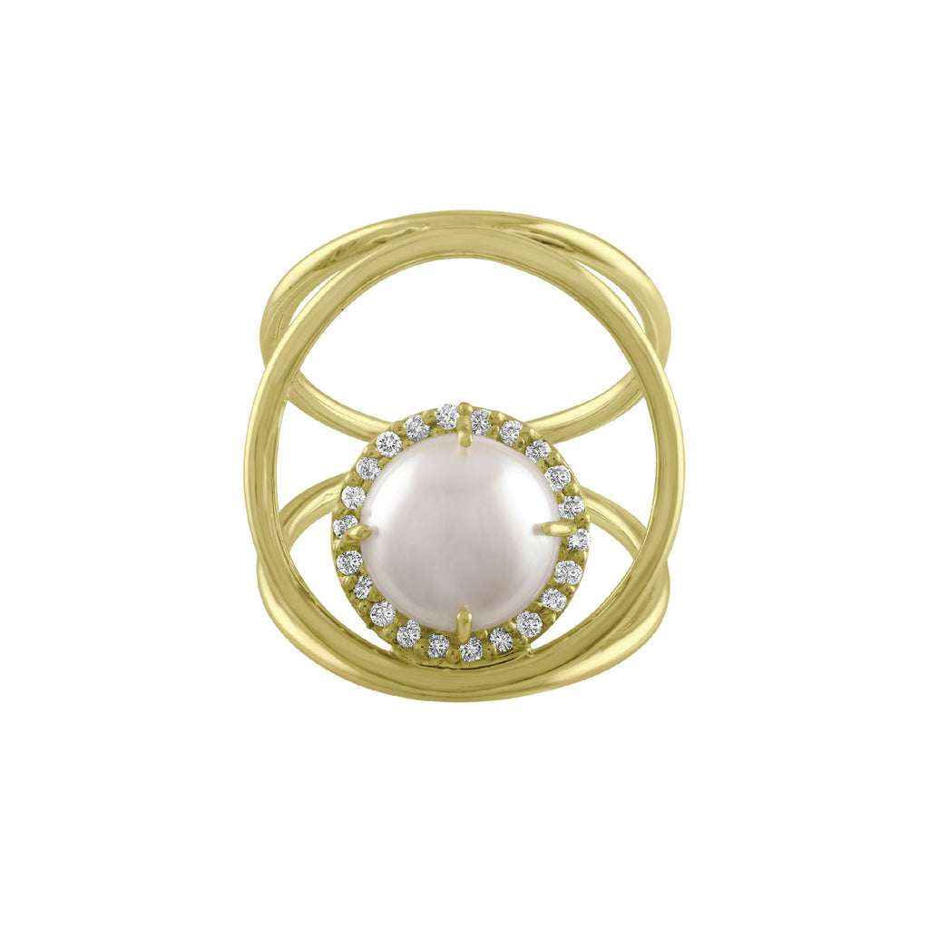 3 Way Circle Pearl Ring and Diamonds