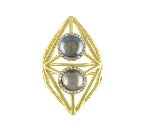Diamond Shape Pearl Ring
