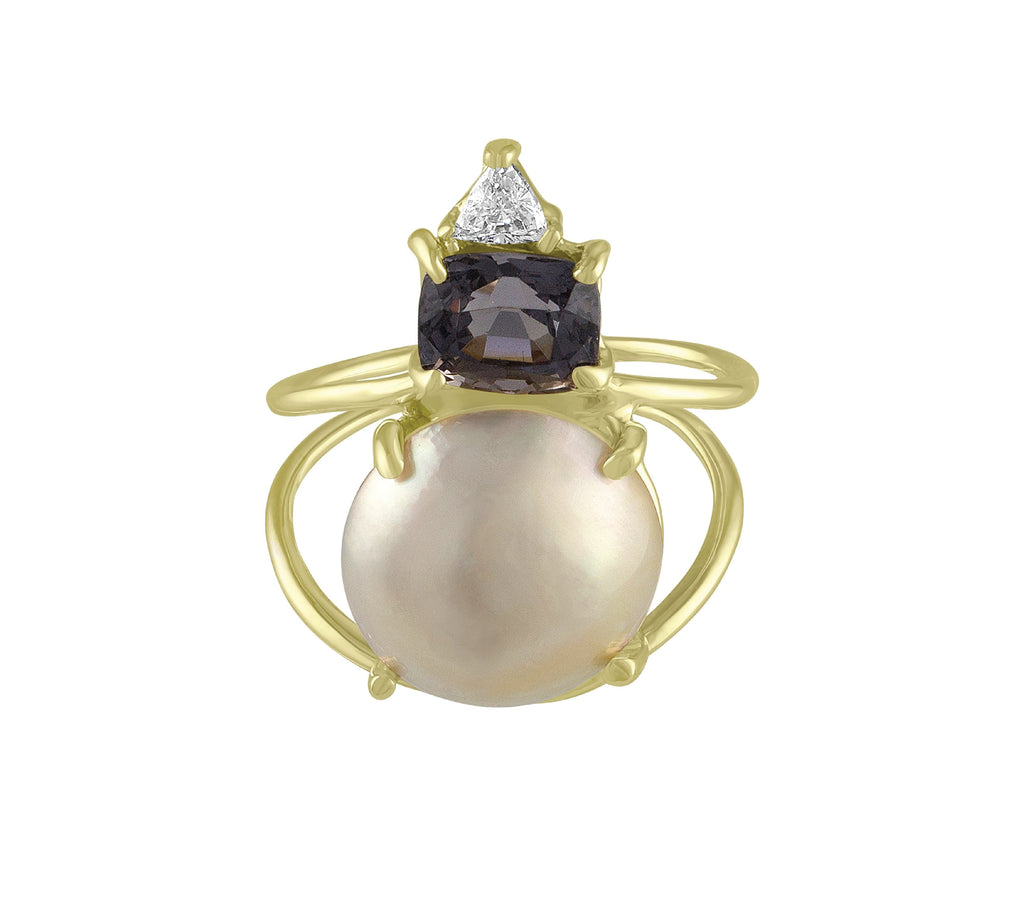 Pearl Spinel Diamond Pinkie Ring