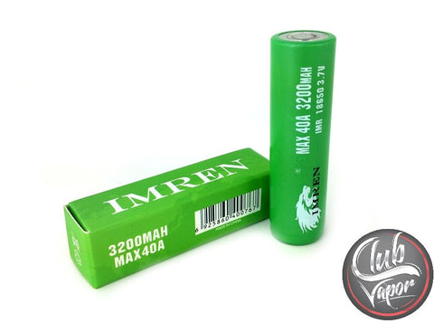 IMREN 18650 3200mAh 3.7V 40A Battery - Club Vapor USA