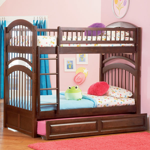 Windsor Twin over Twin Bunk Bed in Antique Walnut w/ Trundle
