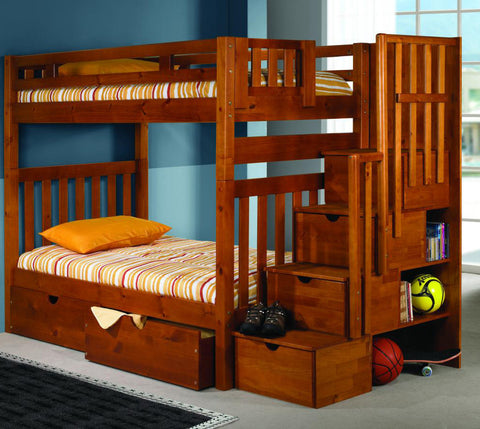 DC Twin over Twin Mission Stairway Bunk Bed