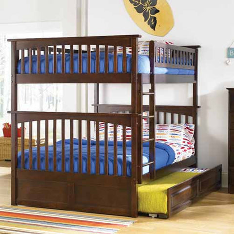 Columbia Full over Full Bunk Bed in Antique Walnut w/ Trundle