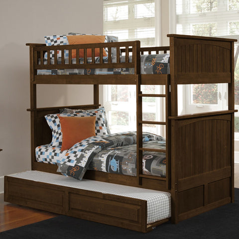 Nantucket Twin over Twin Bunk Bed in Antique Walnut w/ Trundle