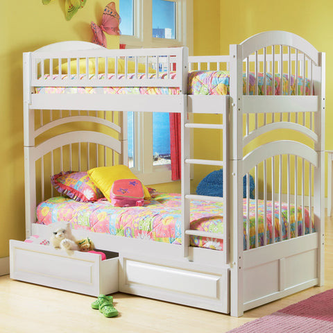 Windsor Twin over Twin Bunk Bed in White w/ Storage Drawers