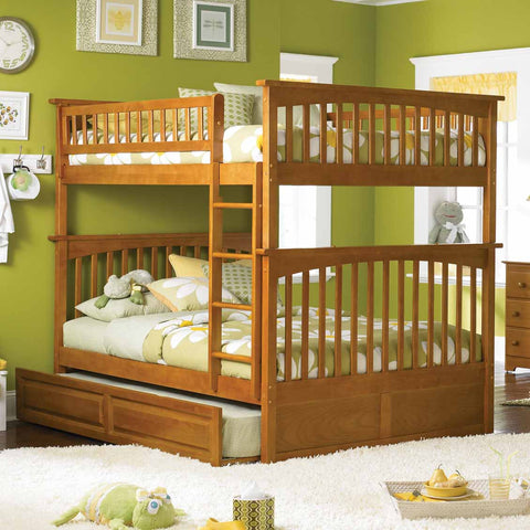 Columbia Full over Full Bunk Bed in Caramel Latte w/ Trundle