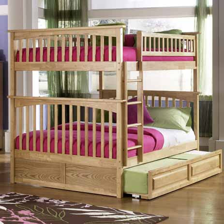Columbia Full over Full Bunk Bed in Natural Maple w/ Trundle