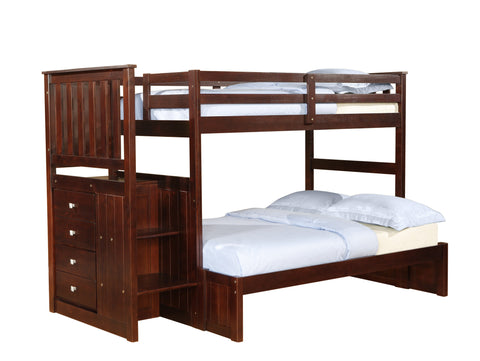 DC Twin Over Full Mission Stairway Bunk Bed in Cappuccino