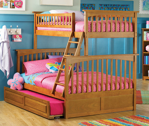 Columbia Twin over Full Bunk Bed in Caramel Latte