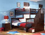 Columbia Twin over Full Stairway Bunk Bed in Antique Walnut