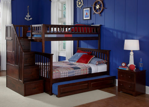 Columbia Twin over Full Stairway Bunk Bed in Antique Walnut w/ Trundle