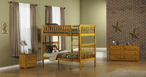 Woodland Twin over Twin Bunk Bed in Caramel Latte
