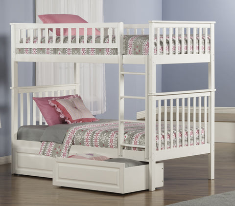 Woodland Twin over Twin Bunk Bed in White