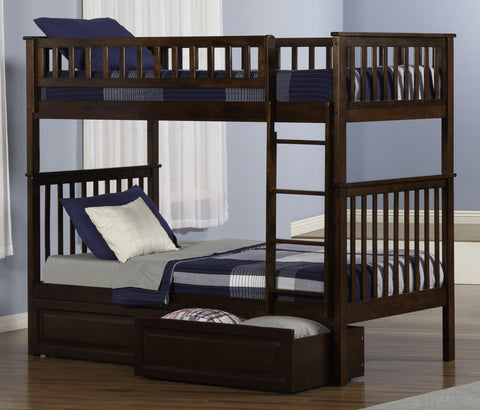 Woodland Twin over Twin Bunk Bed in Antique Walnut