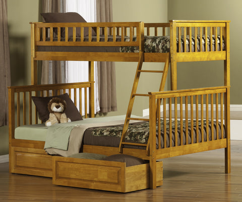 Woodland Twin over Full Bunk Bed in Caramel Latte