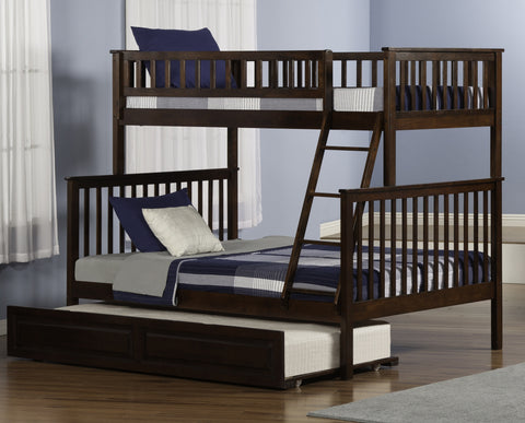 Woodland Twin over Full Bunk Bed in Antique Walnut