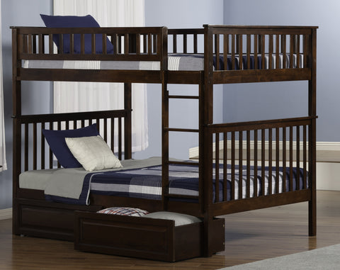 Woodland Full over Full Bunk Bed in Antique Walnut