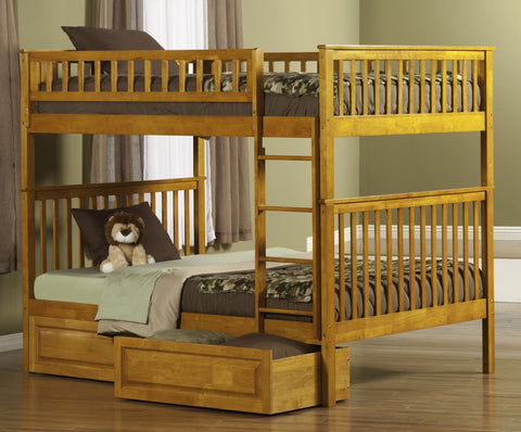 Woodland Full over Full Bunk Bed in Caramel Latte