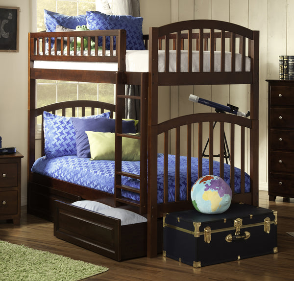 Richland Twin over Twin Bunk Bed in Antique Walnut