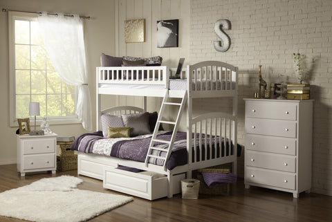 Richland Twin over Full Bunk Bed in White