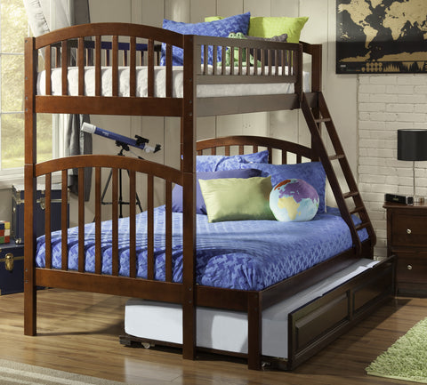 Richland Twin over Full Bunk Bed in Antique Walnut
