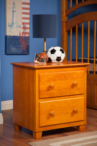 Atlantic 2 Drawer Nightstand in a Caramel Latte